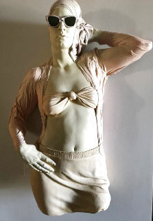 Woman With Glasses Mixed Media Sculpture Edition AP 1984 39 in Sculpture - Marc Sijan