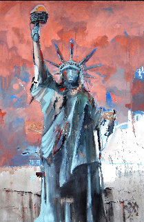 Hard Knox For Lady Liberty 2007 74x50 Super Huge Original Painting - Marcus Antonius Jansen