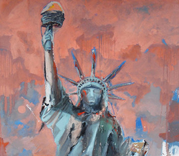 Hard Knox For Lady Liberty 2007 74x50 Super Huge Original Painting - Marcus Antonius Jansen