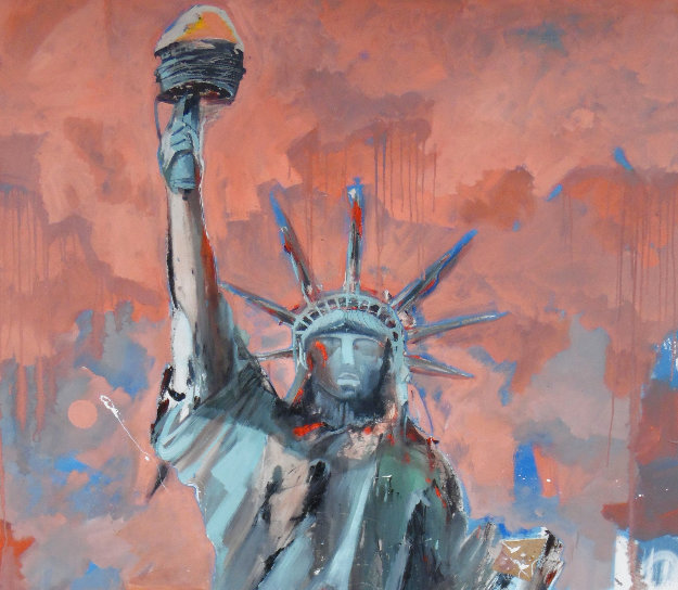 Hard Knox For Lady Liberty 2007 74x50 Super Huge Original Painting by Marcus Antonius Jansen
