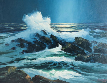 Moonlight South of Kona Hawaii 1963 32x40 Original Painting - Charles S. Marek