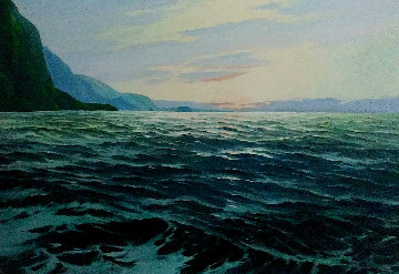Moonlit Cove, Hawaii 1975 55x44 Huge Original Painting - Charles S. Marek
