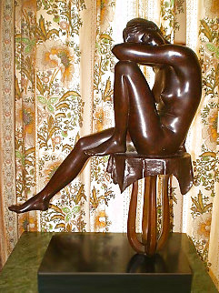 Jodie Bronze Sculpture 1980 17 in Sculpture - Isidore Margulies