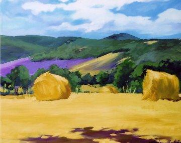 Montsalier Hayrolls 2006 47x39 Original Painting - Maria Bertran