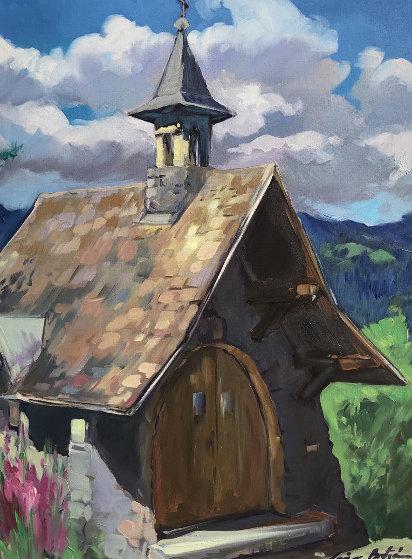 Untitled (Hillside Church)  Original Painting by Maria Bertran