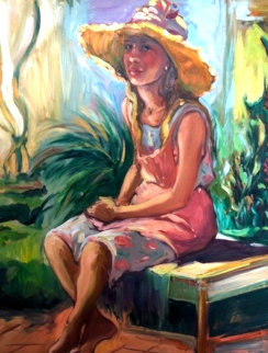 Untitled Portrait 1985 48x40 Huge Original Painting - Maria Bertran