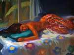 Paradise Dream 2001  51x59 Original Painting - Maria Bertran
