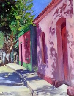 Casas Del Fundo 1998 50x40 Original Painting - Maria Bertran