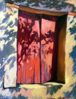 Oil on Linen Red Window 46x38 Original Painting - Maria Bertran
