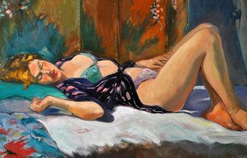 Woman Lounging 1997 44x34  Huge Original Painting - Maria Bertran