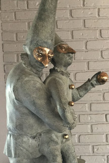 Pulcinella Bronze Sculpture Unique 1998 40 in Sculpture - Harry Marinsky
