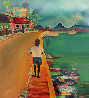 Little Boy With Neon Fish Limited Edition Print by Jennifer Markes