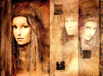 Prophesy of Passion  Triptych  2007 26x32 Original Painting - Csaba Markus