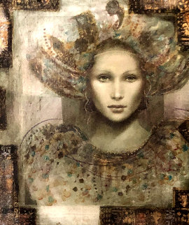 Thebian Thoughts 43x39 Original Painting - Csaba Markus