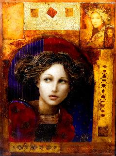 Untitled Portrait of a Woman 48x33 Huge  Original Painting - Csaba Markus