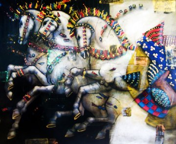 Untitled Painting (Horses) 1999 46x36 Super Huge Works on Paper (not prints) - Csaba Markus