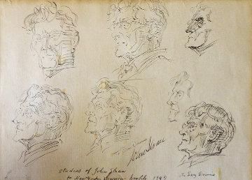 Studies of John Sloan For the New Yorker 1949 Drawing by Reginald Marsh