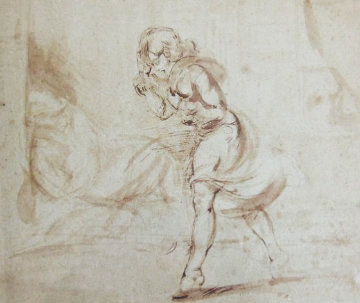 Girl Walking Drawing 1950 17x20 Works on Paper (not prints) - Reginald Marsh