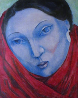 Blue Lady Pastel 1985 41x35 Original Painting by Miguel Martinez