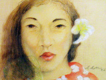 Hawaiian Girl Pastel  1984 Original Painting - Miguel Martinez