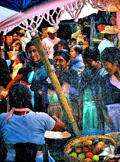 Mujers En El Mercado  (Women in the Maketplace) 1985 33x26 Original Painting - Esperanza Martinez