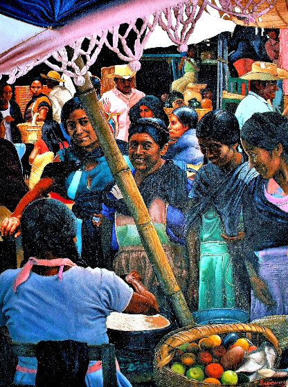 Mujers En El Mercado  (Women in the Maketplace) 1985 33x26 by Esperanza Martinez