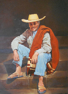 Old Man From Ameca 1969 30x24 Original Painting - Esperanza Martinez