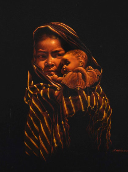 Girl With Doll 32x28 Original Painting by Esperanza Martinez