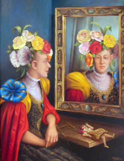 Mujer Frente Al Esperjo 2002 49x39 Original Painting - Hector Martinez