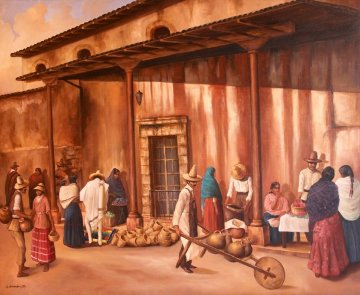 Market 2002 45x45 Original Painting by Hector Martinez