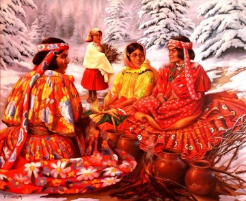 One Snowy Day 2002 39x48 Original Painting by Hector Martinez