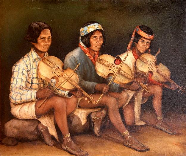 Tarahumara Musicians 2002 30x36 Original Painting by Hector Martinez