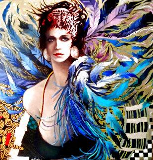 Femme Oi Seau 2001 24x24 Original Painting - Jean-Paul Loppo Martinez