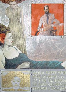 La Liberte 1998 29x21 Original Painting - Jean-Paul Loppo Martinez