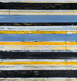 Composition in Blue, Yellow And Black 2012 21x22 Original Painting - Lloyd Martin