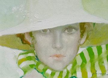 Untitled Female Portrait 1975 14x17 Original Painting by Felix Mas