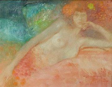 Untitled Female Painting  (Mermaid/Fantasy) 1975 18x22 Original Painting by Felix Mas