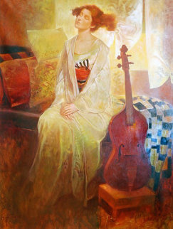 Musas Del Musica 56x46 Original Painting - Felix Mas