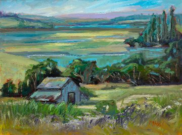 Coastal Barn, Plein Air 2018 18x24 Original Painting - Marie Massey