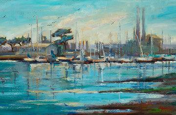 Moss Landing Harbor, Plein Air 2018 15x30 Original Painting by Marie Massey