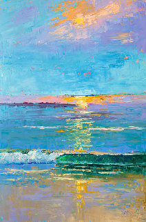 Carmel Beach Sunset 2020 36x24 Original Painting - Marie Massey