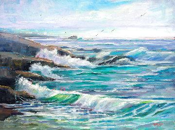 Dreams of Spanish Bay, Pebble Beach  2020 30x40 Huge Original Painting - Marie Massey