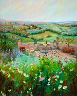 Al Fresco 2005 60x48 Original Painting - Marie Massey