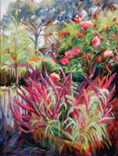 Rambling Rose 2005 40x30 Original Painting - Marie Massey