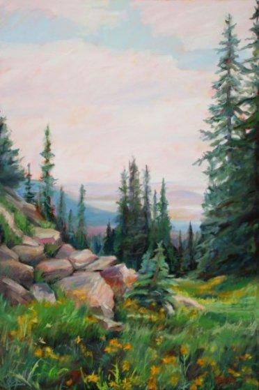 High Mountain Spring Original Painting by Marie Massey