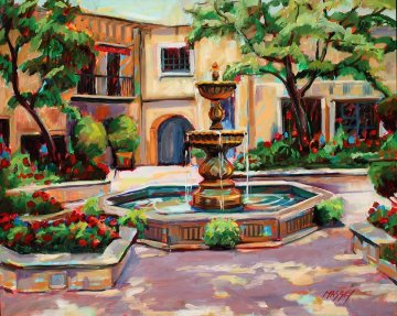 Summer Courtyard 2010 24x30 Original Painting by Marie Massey