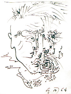 Self Portrait Drawing 1964 21x18 Works on Paper (not prints) - Andre Masson