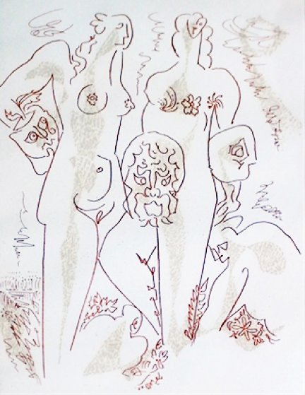 Femmes Aux Masques 1970 Limited Edition Print by Andre Masson