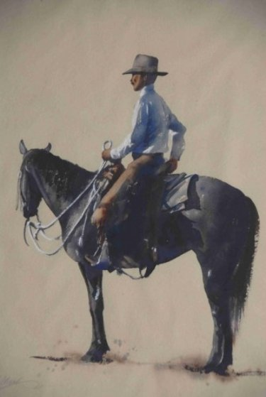 Ready to Ride Watercolor 15x20 Watercolor by William Mathews