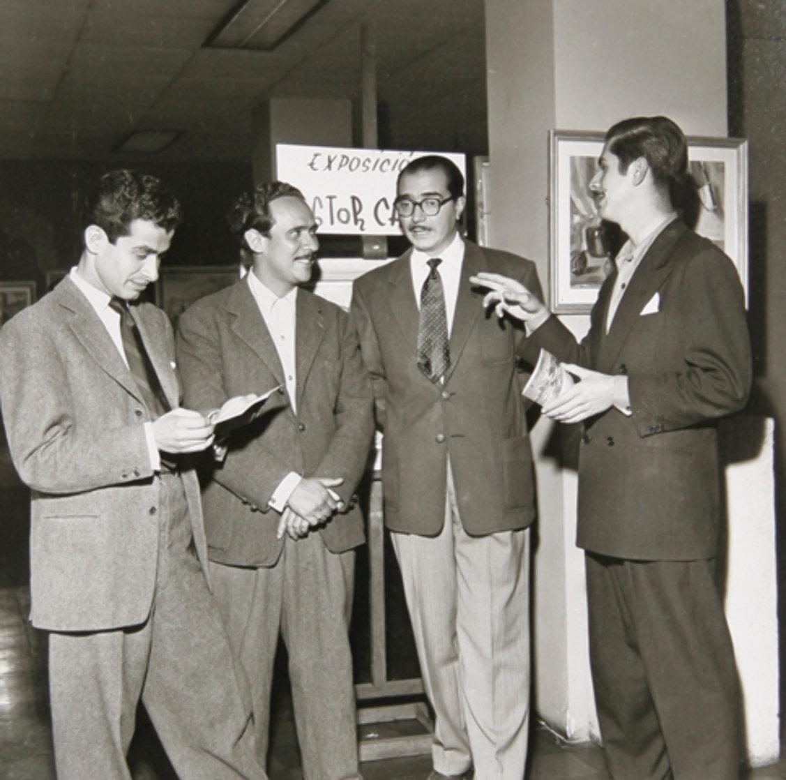 Leo With Botero, Carpena And  Arboleda 1945 Photography by Leo Matiz